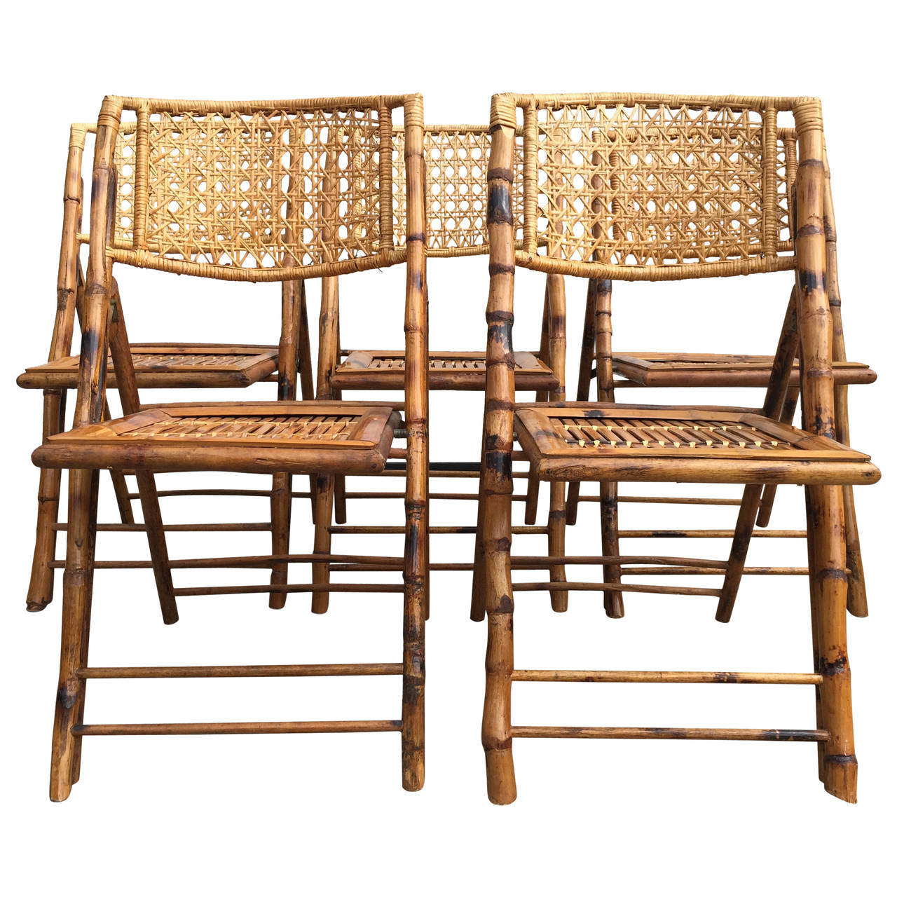 Set Of Five Scorched Bamboo Frame Folding Chairs With Rattan Seat And Back    Old Town Crossing