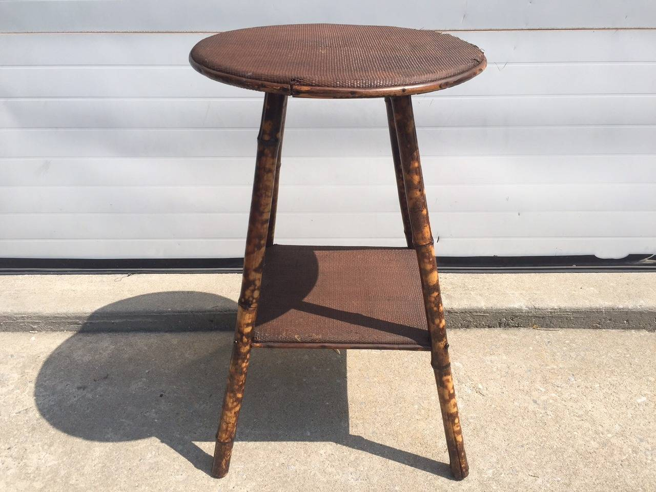 Round side tables - 1930s English Scorched Bamboo And Rattan Round Side Table