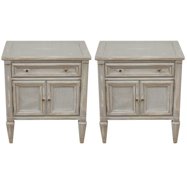 Pair Of French Country Painted Cane Grey Washed Single Drawer Side Tables