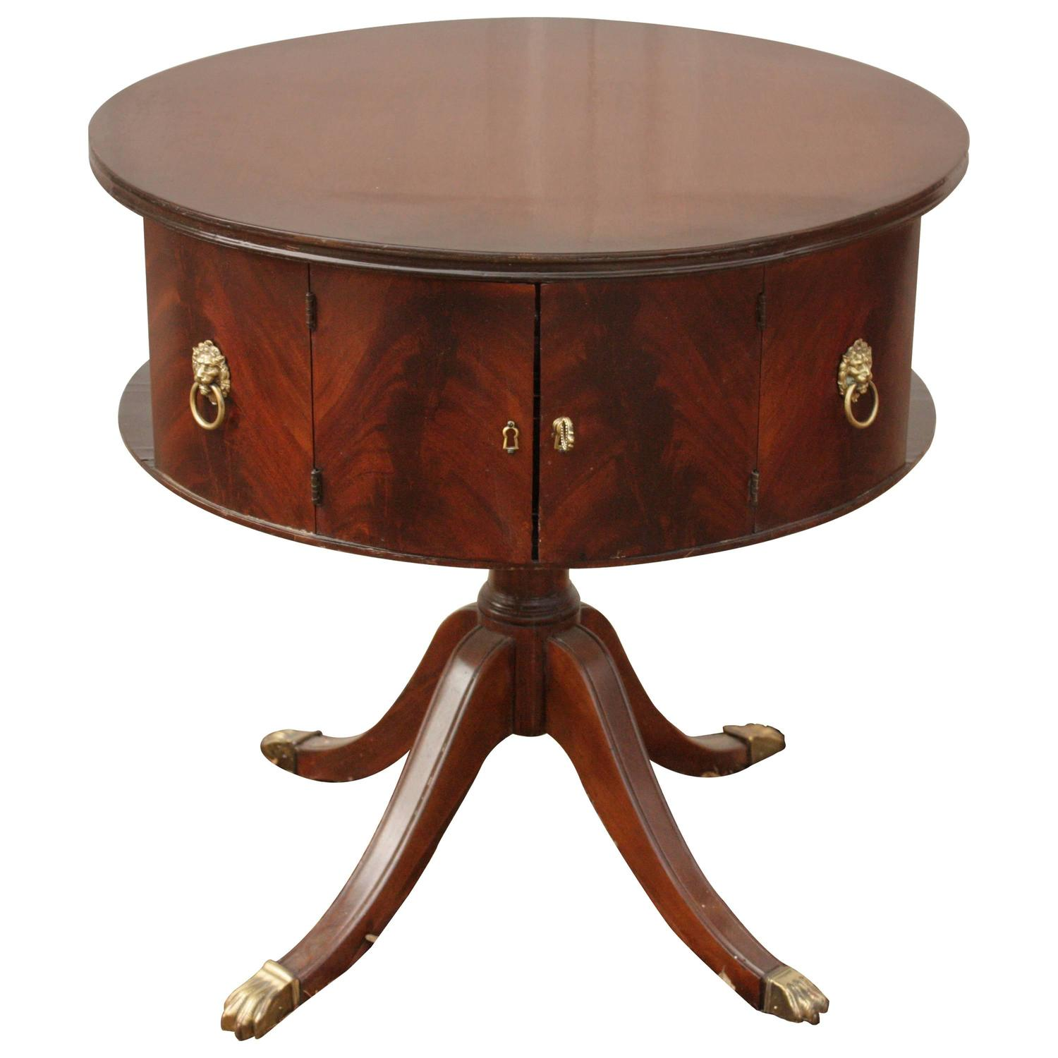 1930 39 s english round mahogany pedestal table with brass for Pedestal table