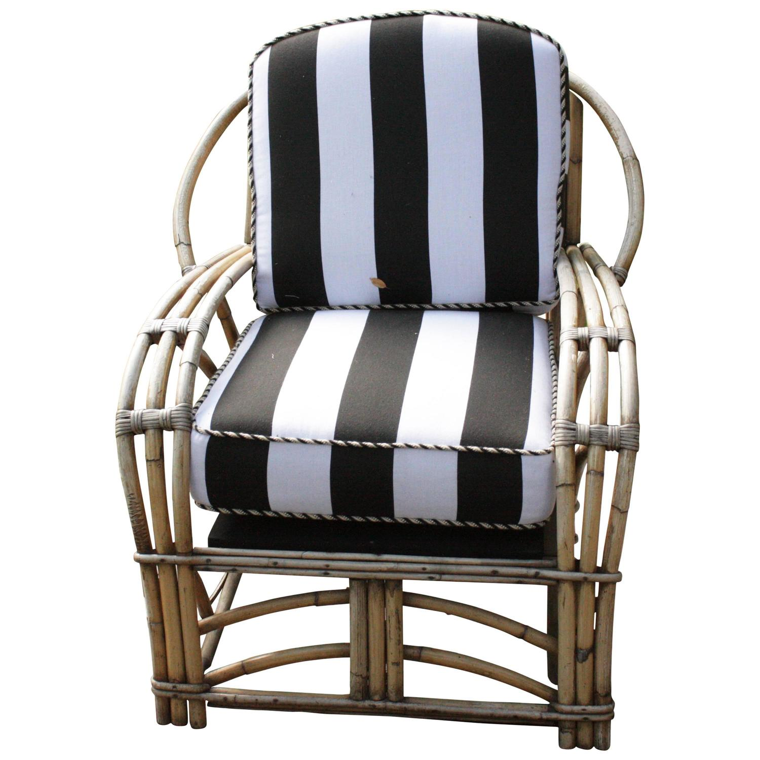 1960u0027s Outdoor Bamboo Framed Armchair With Round Back Arms Bengal Striped  Cushion
