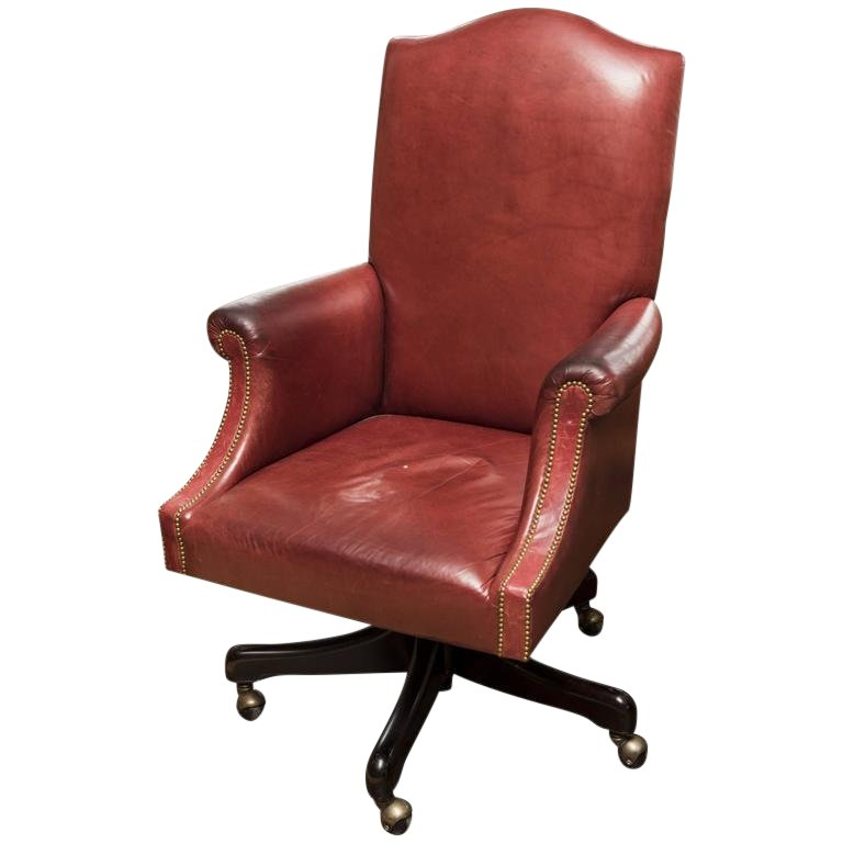 Vintage Mid-Century Modern Ruby Leather Desk Chair