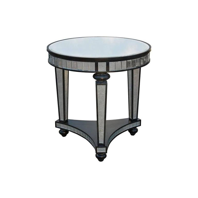 Small Round Coffee Table.Mirror Panel Ebonized Wood Frame Small Round Side Table